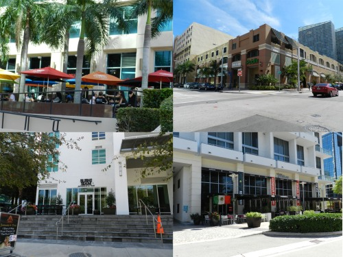 Clockwise from top left: Deli Lane (@ 1401 Brickell), Publix @ Mary Brickell Village, La Lupita and Roberto Giordano Salon @ Avenue, Sushi Siam (@ the Plaza)